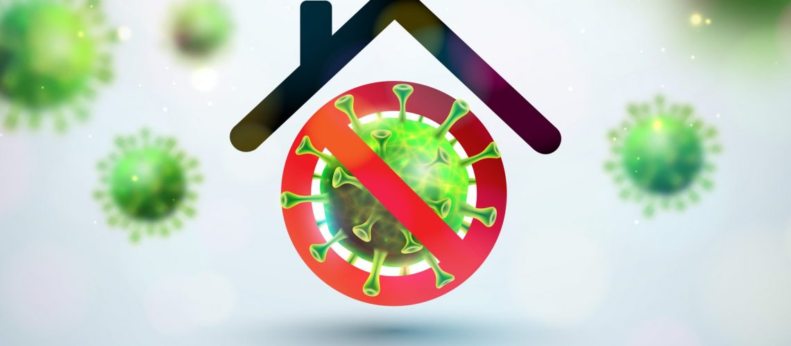 Stay Home. Stop Coronavirus Design with Falling Covid-19 Virus and Abstract House on Light Background. Vector 2019-ncov Corona Virus Outbreak Illustration on Dangerous SARS Epidemic Theme for Banner