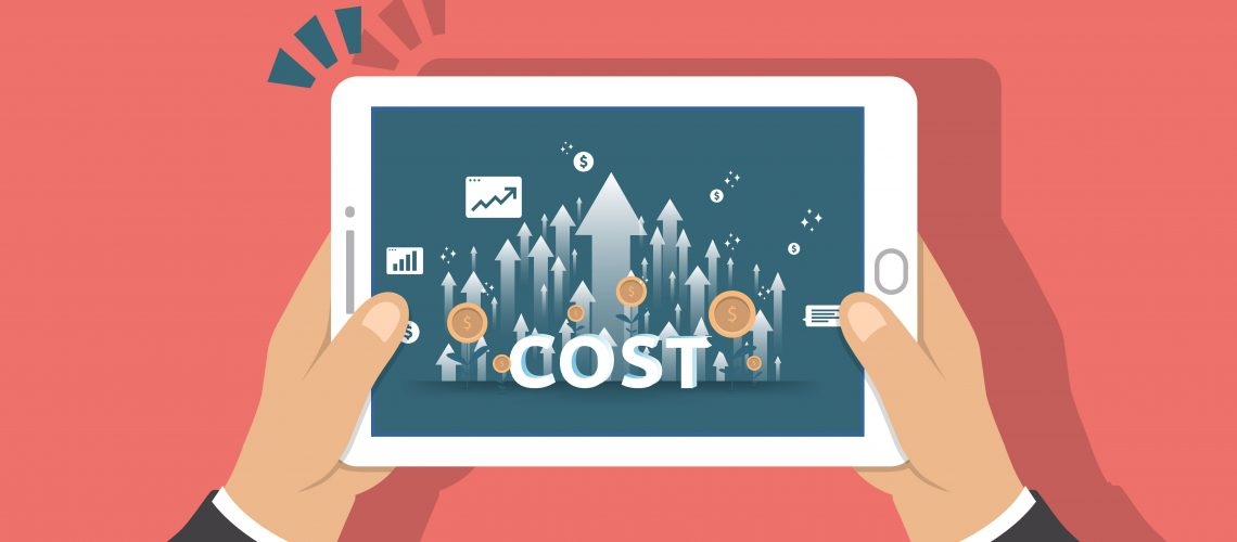 arrow increase for cost reduction concept . business management at lost crisis and bankrupt situation. finance expenses and profit improvement illustration for banner or background vector template